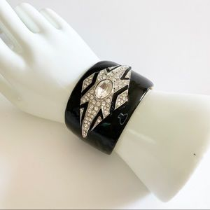 Vtg KJL Kenneth Lane Black and Rhinestone Bracelet